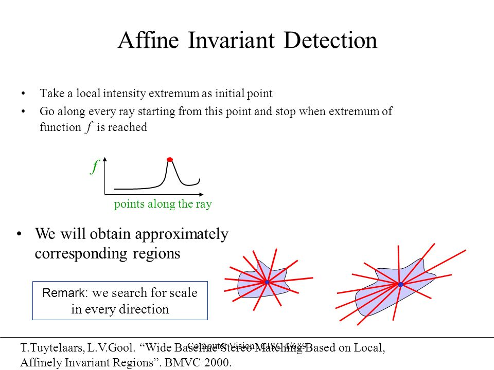 Computer Vision : CISC 4/689 Affine Invariant Detection Take a local intensity extremum as initial point Go along every ray starting from this point a