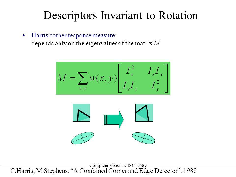 Computer Vision : CISC 4/689 Descriptors Invariant to Rotation Harris corner response measure: depends only on the eigenvalues of the matrix M C.Harri