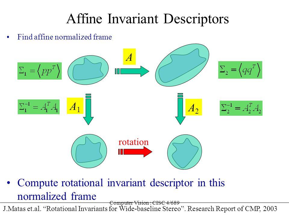 Computer Vision : CISC 4/689 Affine Invariant Descriptors Find affine normalized frame J.Matas et.al. Rotational Invariants for Wide-baseline Stereo.