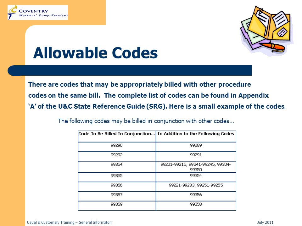 Usual & Customary Training – General InformatonJuly 2011 Allowable Codes There are codes that may be appropriately billed with other procedure codes on the same bill.
