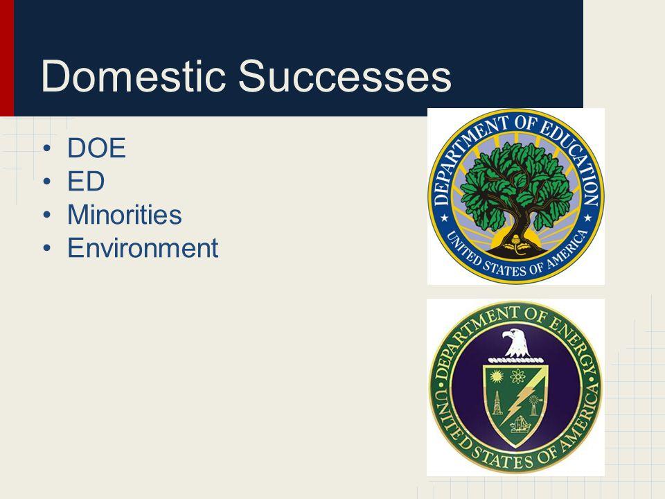 Domestic Successes DOE ED Minorities Environment