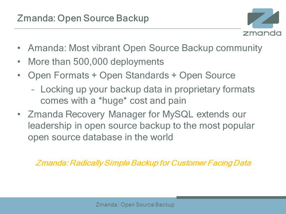 Zmanda : Open Source Backup Amanda: Most vibrant Open Source Backup community More than 500,000 deployments Open Formats + Open Standards + Open Sourc