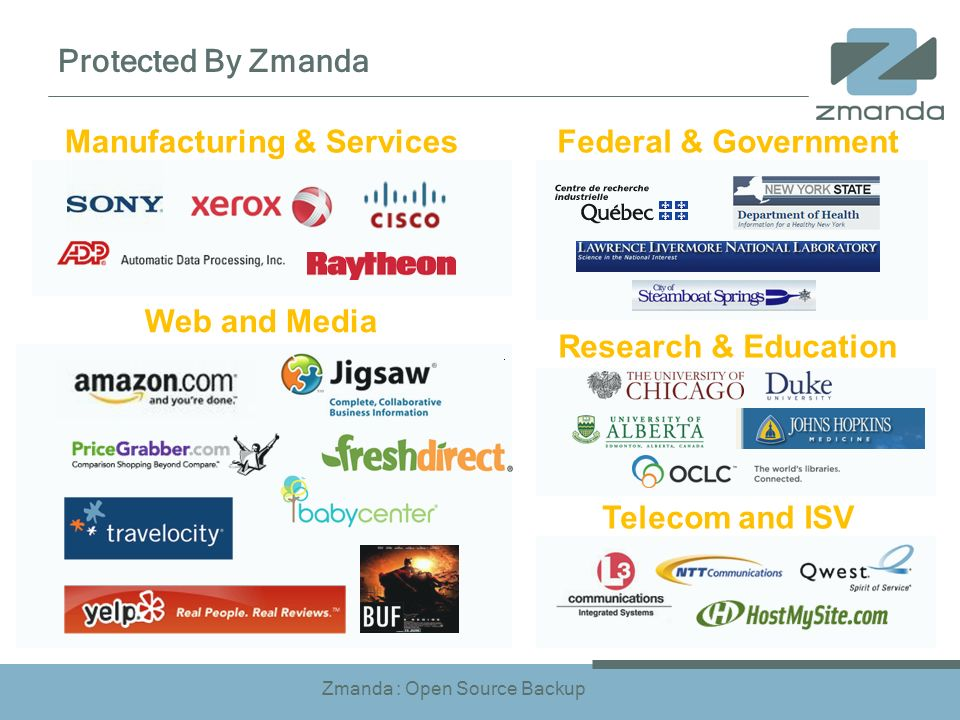 Zmanda : Open Source Backup Protected By Zmanda Federal & Government Research & Education Manufacturing & Services Web and Media Telecom and ISV