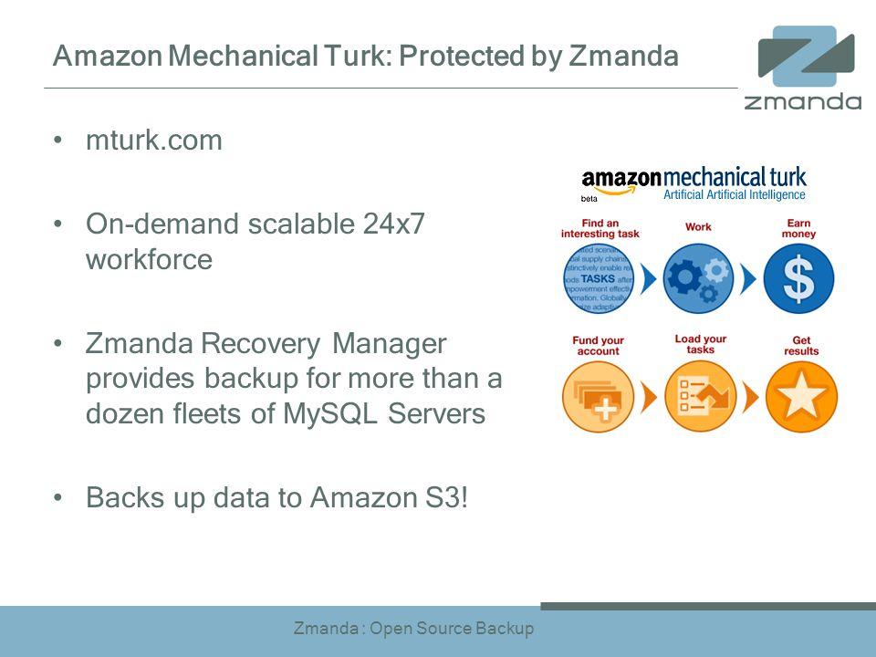 Zmanda : Open Source Backup Amazon Mechanical Turk: Protected by Zmanda mturk.com On-demand scalable 24x7 workforce Zmanda Recovery Manager provides backup for more than a dozen fleets of MySQL Servers Backs up data to Amazon S3!