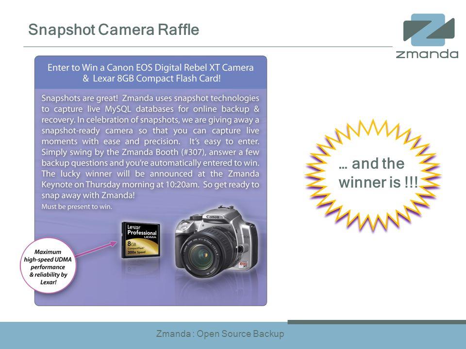 Zmanda : Open Source Backup Snapshot Camera Raffle