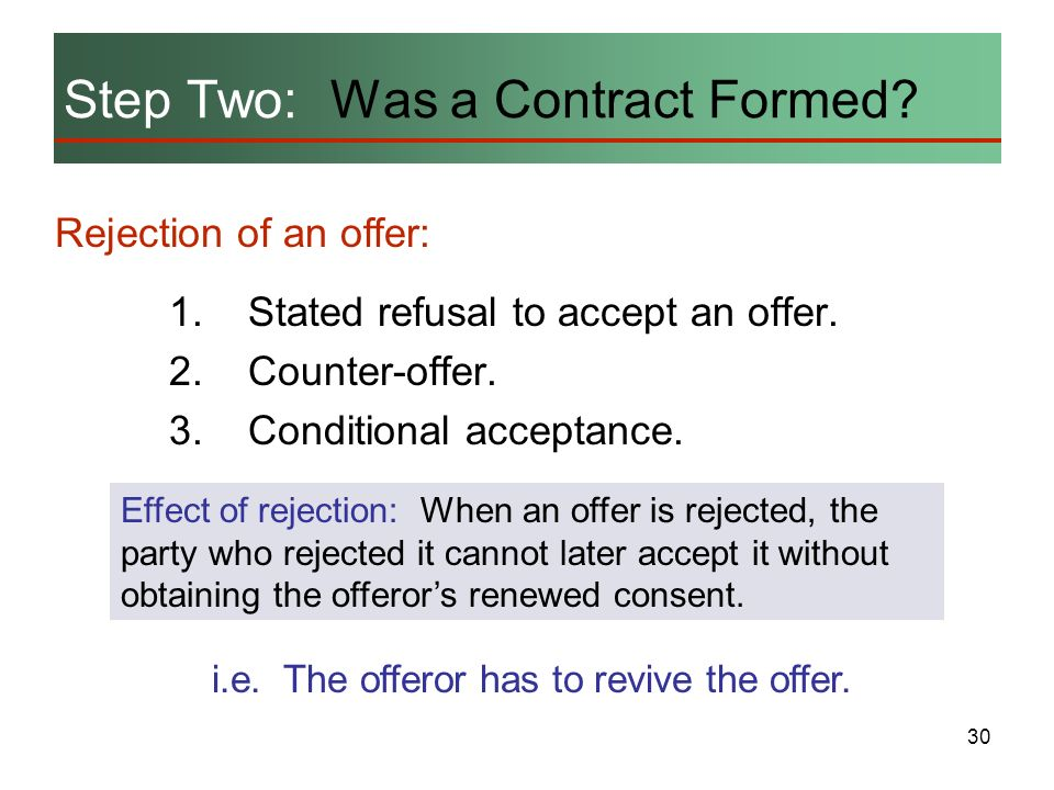 30 Step Two: Was a Contract Formed? Rejection of an offer: 1.Stated refusal to accept an offer. 2.Counter-offer. 3.Conditional acceptance. Effect of r