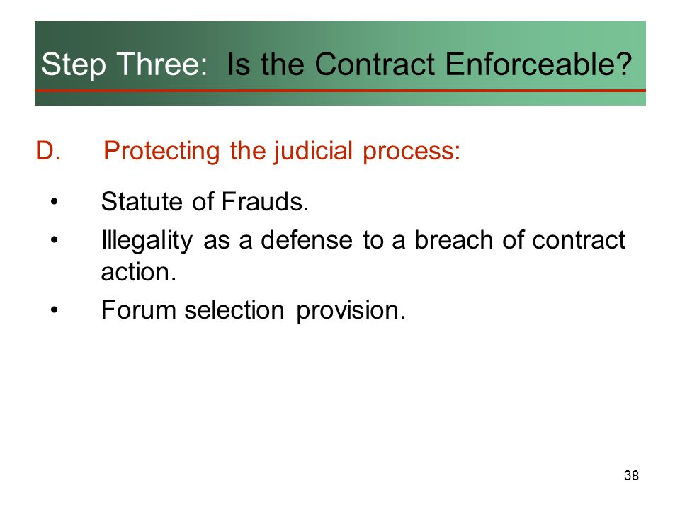 38 Step Three: Is the Contract Enforceable? D.Protecting the judicial process: Statute of Frauds. Illegality as a defense to a breach of contract acti