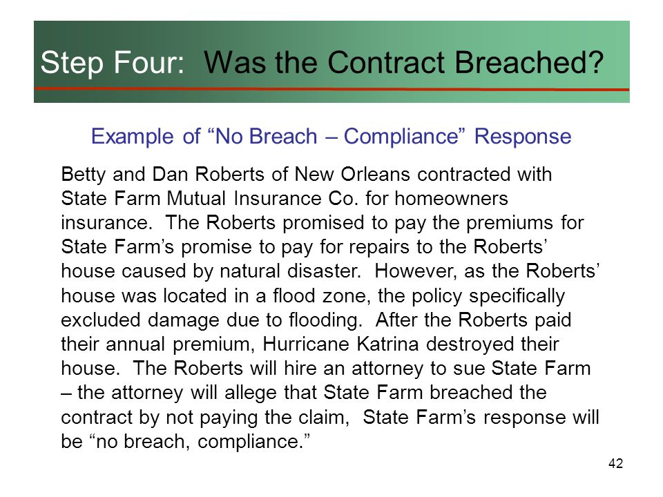 42 Step Four: Was the Contract Breached? Example of No Breach – Compliance Response Betty and Dan Roberts of New Orleans contracted with State Farm Mu