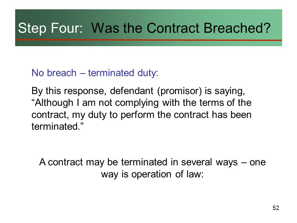 52 Step Four: Was the Contract Breached? No breach – terminated duty: By this response, defendant (promisor) is saying, Although I am not complying wi