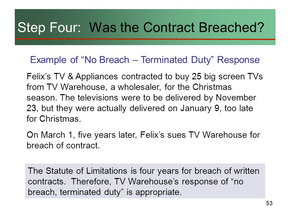 53 Step Four: Was the Contract Breached? Example of No Breach – Terminated Duty Response Felixs TV & Appliances contracted to buy 25 big screen TVs fr
