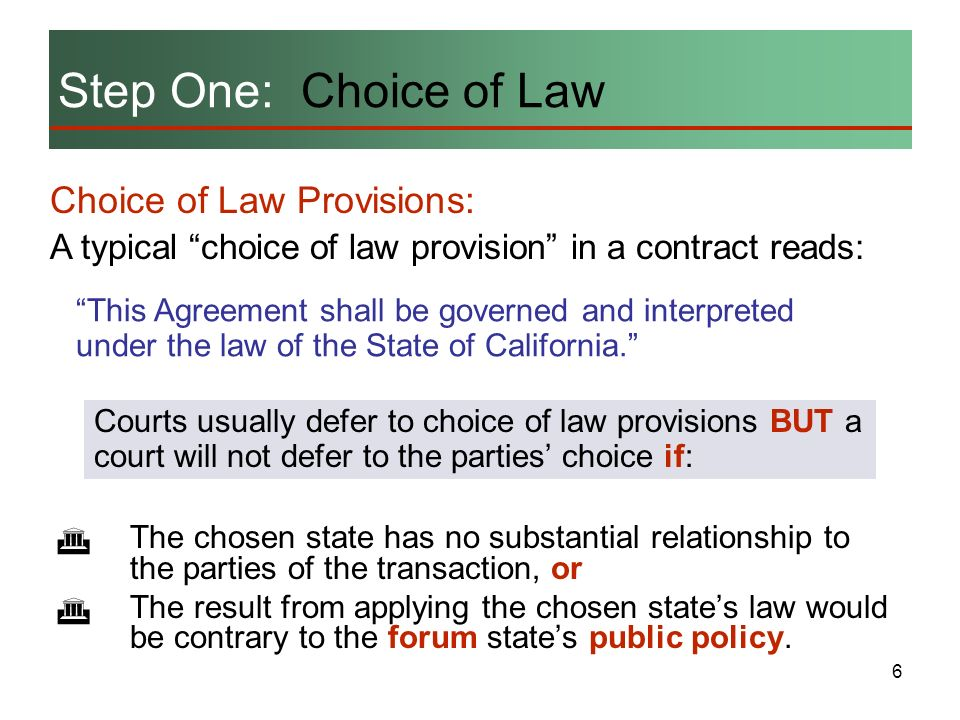 6 Choice of Law Provisions: A typical choice of law provision in a contract reads: The chosen state has no substantial relationship to the parties of