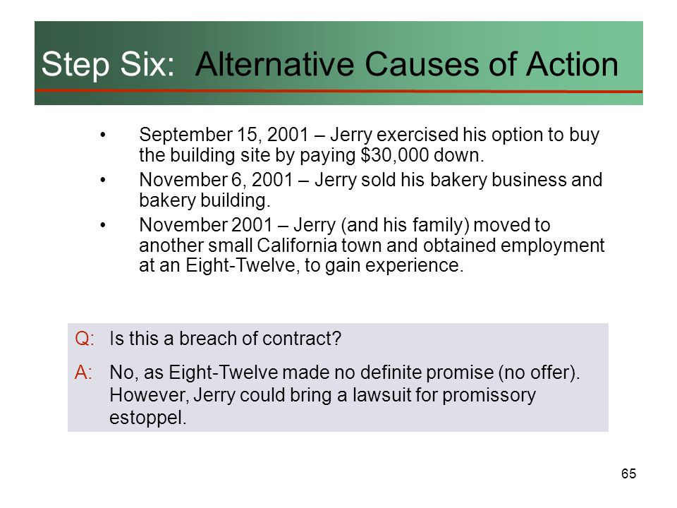 65 Step Six: Alternative Causes of Action September 15, 2001 – Jerry exercised his option to buy the building site by paying $30,000 down. November 6,