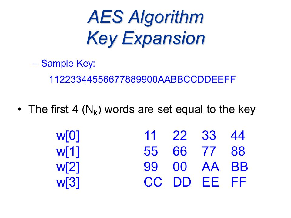 AES Algorithm Key Expansion –Sample Key: 11223344556677889900AABBCCDDEEFF The first 4 (N k ) words are set equal to the key w[0]11223344 w[1] 55667788