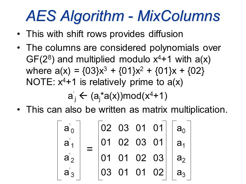 AES Algorithm - MixColumns This with shift rows provides diffusion The columns are considered polynomials over GF(2 8 ) and multiplied modulo x 4 +1 w