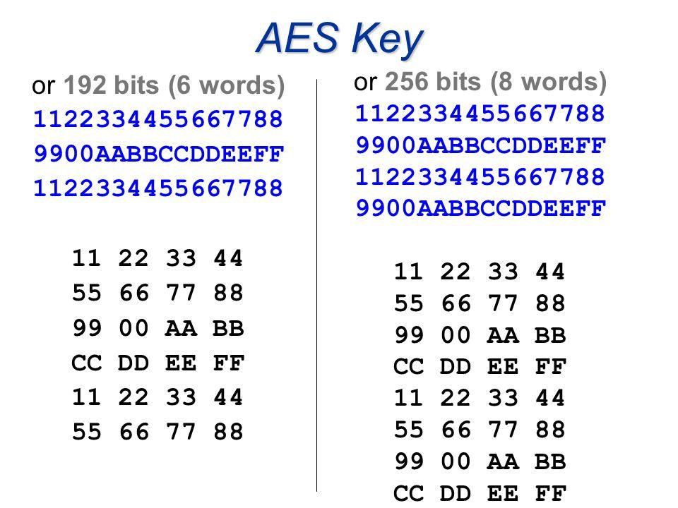 AES Key or 192 bits (6 words) 1122334455667788 9900AABBCCDDEEFF 1122334455667788 11 22 33 44 55 66 77 88 99 00 AA BB CC DD EE FF 11 22 33 44 55 66 77