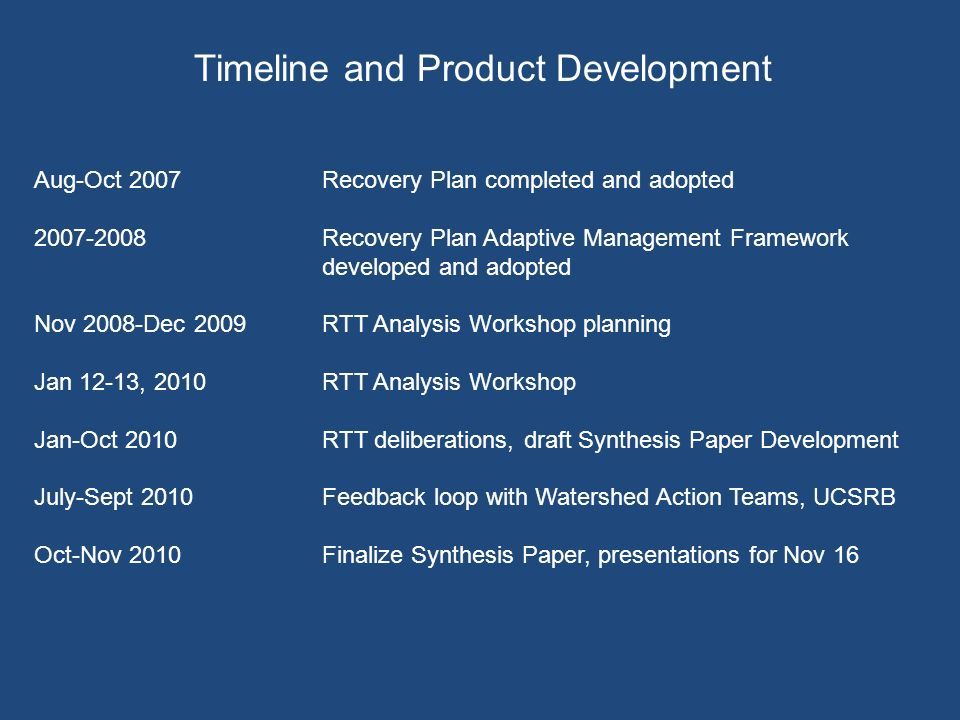 Timeline and Product Development Aug-Oct 2007Recovery Plan completed and adopted Recovery Plan Adaptive Management Framework developed and adopted Nov 2008-Dec 2009RTT Analysis Workshop planning Jan 12-13, 2010 RTT Analysis Workshop Jan-Oct 2010RTT deliberations, draft Synthesis Paper Development July-Sept 2010Feedback loop with Watershed Action Teams, UCSRB Oct-Nov 2010Finalize Synthesis Paper, presentations for Nov 16