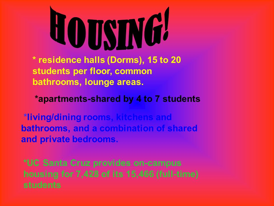 * residence halls (Dorms), 15 to 20 students per floor, common bathrooms, lounge areas. *apartments-shared by 4 to 7 students *living/dining rooms, ki