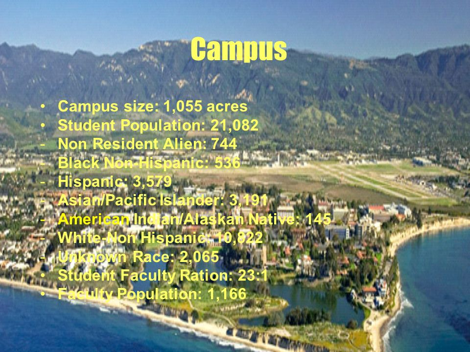 Campus Campus size: 1,055 acres Student Population: 21,082 -Non Resident Alien: 744 -Black Non-Hispanic: 536 -Hispanic: 3,579 -Asian/Pacific Islander: 3,191 -American Indian/Alaskan Native: 145 -White-Non Hispanic: 10,822 -Unknown Race: 2,065 Student Faculty Ration: 23:1 Faculty Population: 1,166