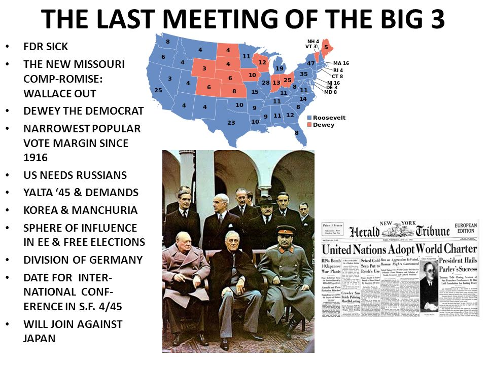 THE LAST MEETING OF THE BIG 3 FDR SICK THE NEW MISSOURI COMP-ROMISE: WALLACE OUT DEWEY THE DEMOCRAT NARROWEST POPULAR VOTE MARGIN SINCE 1916 US NEEDS