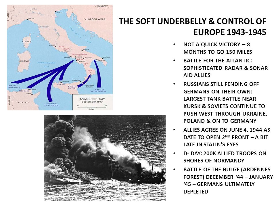 THE SOFT UNDERBELLY & CONTROL OF EUROPE 1943-1945 NOT A QUICK VICTORY – 8 MONTHS TO GO 150 MILES BATTLE FOR THE ATLANTIC: SOPHISTICATED RADAR & SONAR