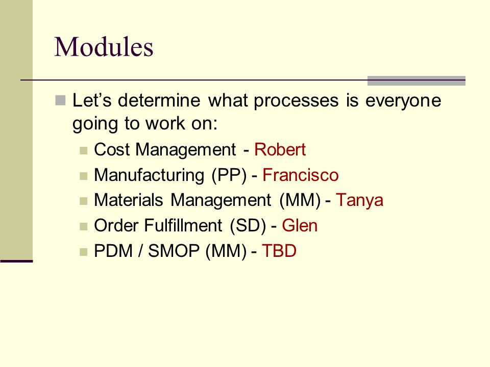 Modules Lets determine what processes is everyone going to work on: Cost Management - Robert Manufacturing (PP) - Francisco Materials Management (MM)