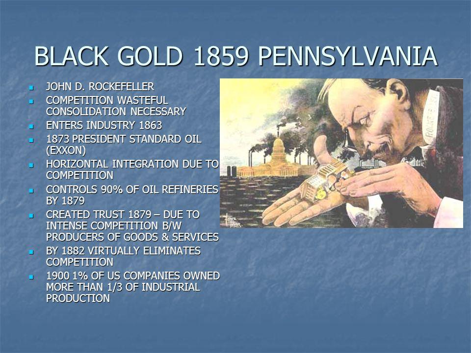 BLACK GOLD 1859 PENNSYLVANIA JOHN D. ROCKEFELLER JOHN D. ROCKEFELLER COMPETITION WASTEFUL CONSOLIDATION NECESSARY COMPETITION WASTEFUL CONSOLIDATION N