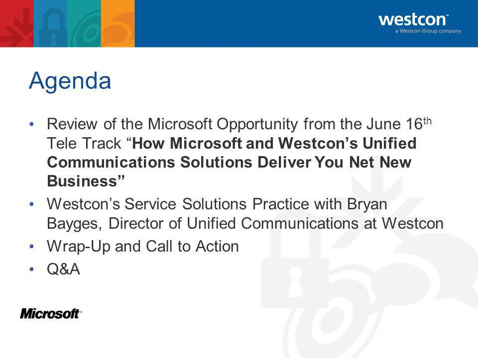 Microsoft Opportunities from Westcon InstantMessaging Mobility VoIPPBX/IP-PBXIntegrationCoexistence EmailVmailCalendaring Presence ConferencingCollaborationTeamWorkspaces EnterpriseValueAddedServices WANAccelerationQoS Load Balancing Secure Routing VoIP/SIPMessagingSecurity LCS 2005 OCS 2007 Exchange UM WAN Windows Server Hyper-V Applications Software plus Services DisasterRecovery SystemCenterManagement