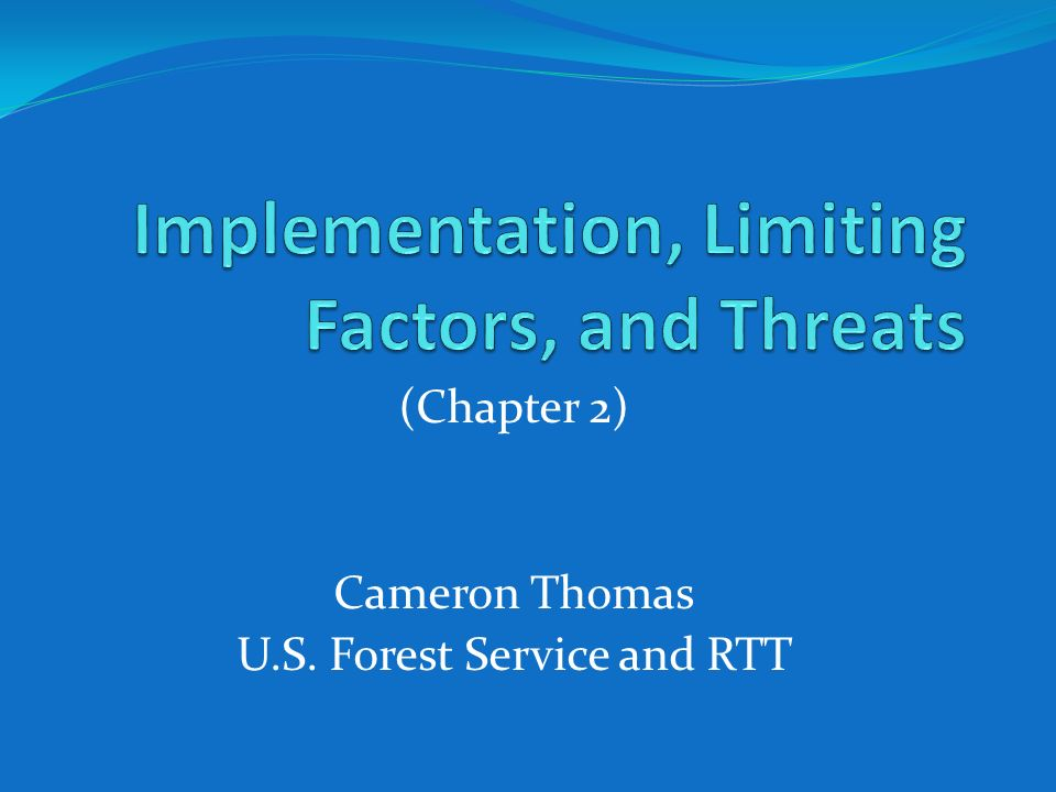 (Chapter 2) Cameron Thomas U.S. Forest Service and RTT