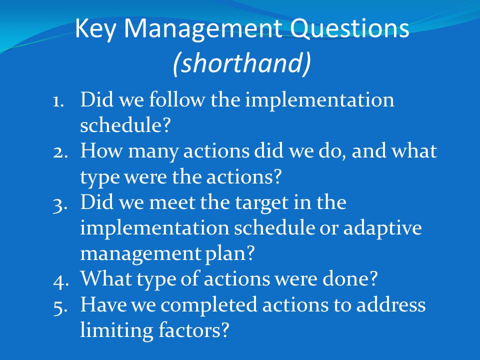Key Management Questions (shorthand) 1.Did we follow the implementation schedule? 2.How many actions did we do, and what type were the actions? 3.Did