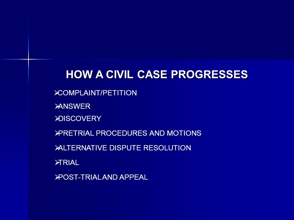 HOW A CIVIL CASE PROGRESSES COMPLAINT/PETITION ANSWER DISCOVERY PRETRIAL PROCEDURES AND MOTIONS TRIAL POST-TRIAL AND APPEAL ALTERNATIVE DISPUTE RESOLU