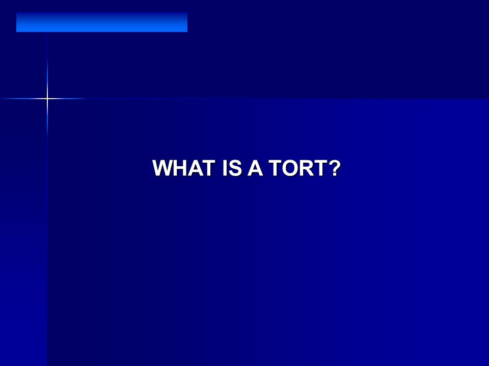 WHAT IS A TORT?