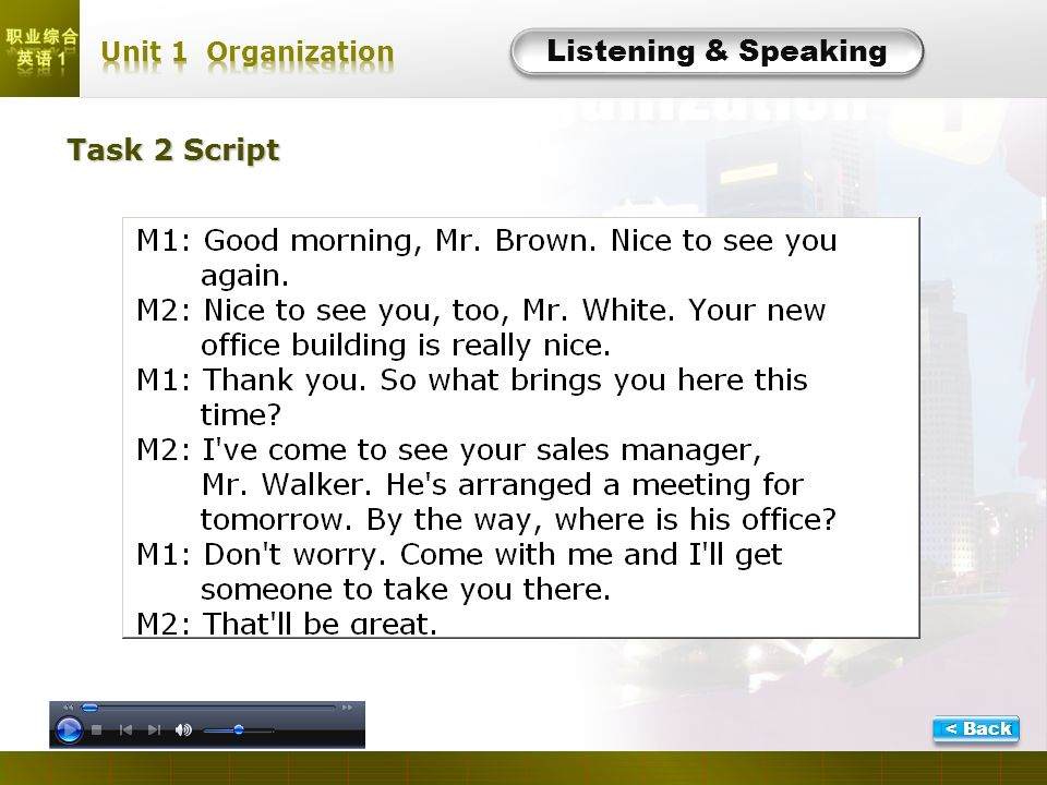 L- Task 3 Listening & Speaking Script 1.The man is going to have a job interview in the womans company.