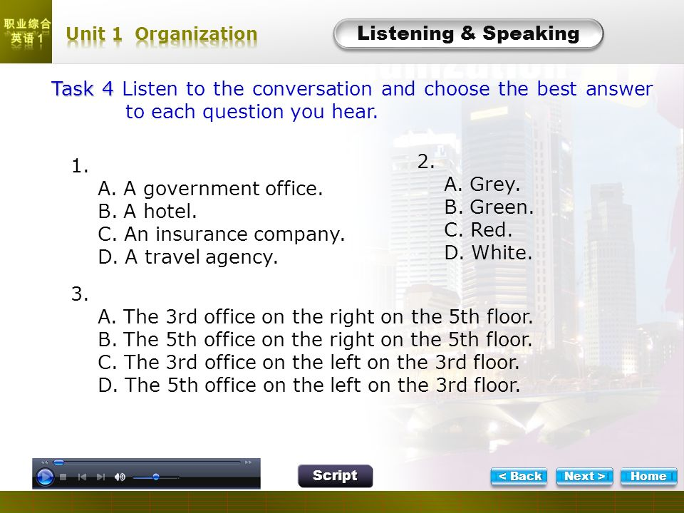 L- Task 4 Task 4 Task 4 Listen to the conversation and choose the best answer to each question you hear. Listening & Speaking Script 1. A. A governmen
