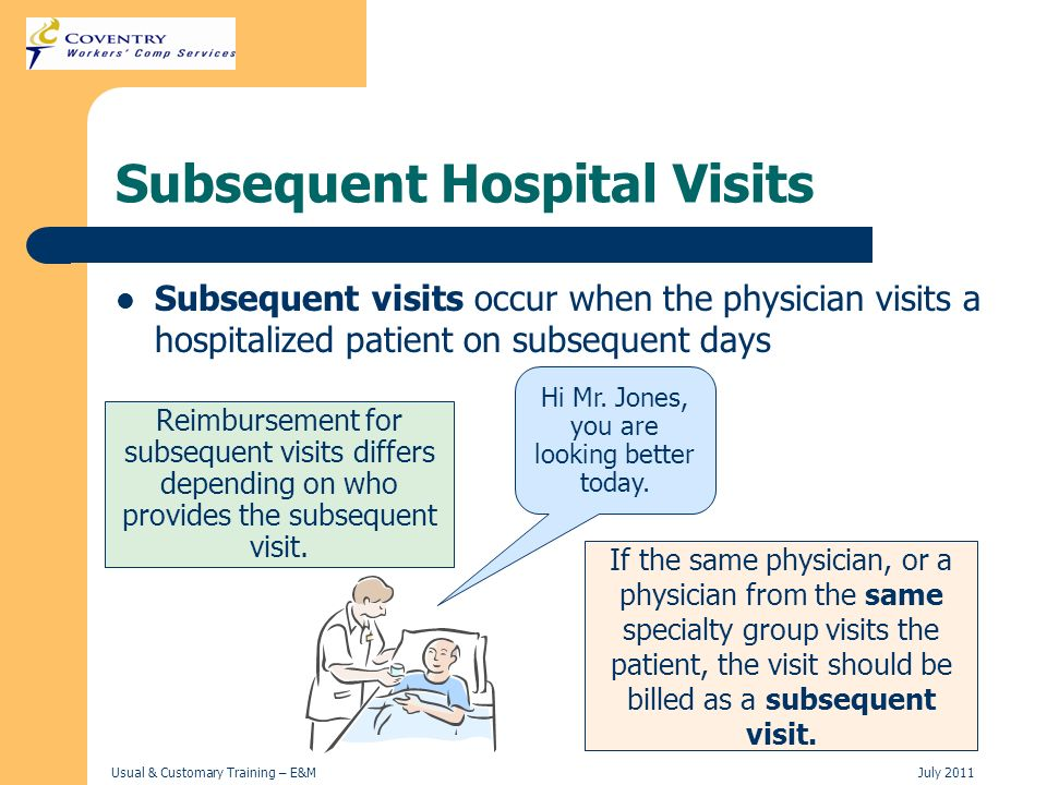 Usual & Customary Training – E&MJuly 2011 Subsequent Hospital Visits Subsequent visits occur when the physician visits a hospitalized patient on subse