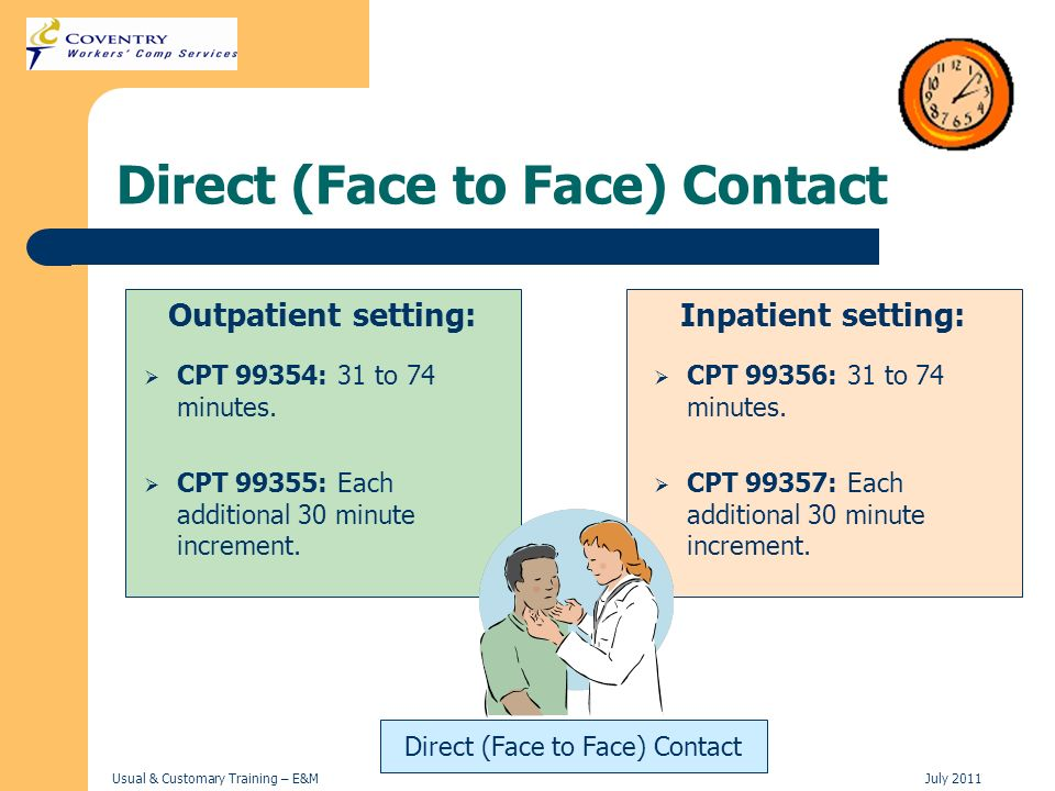Usual & Customary Training – E&MJuly 2011 Direct (Face to Face) Contact Outpatient setting: CPT 99354: 31 to 74 minutes. CPT 99355: Each additional 30