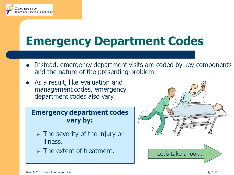 Usual & Customary Training – E&MJuly 2011 Emergency Department Codes Instead, emergency department visits are coded by key components and the nature o