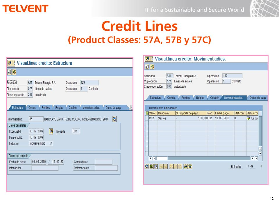 12 Credit Lines (Product Classes: 57A, 57B y 57C)