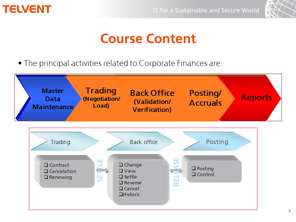 Course Content The principal activities related to Corporate Finances are: 5 Reports Posting/ Accruals Back Office (Validation/ Verification) Trading