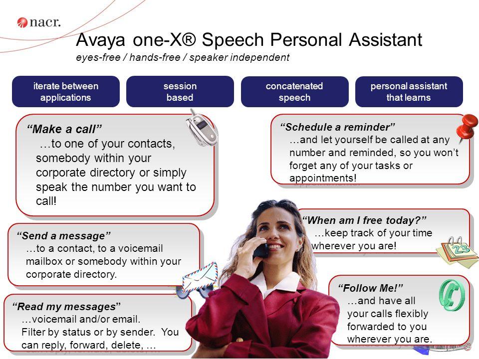 Avaya one-X® Speech Personal Assistant eyes-free / hands-free / speaker independent 17 Follow Me.