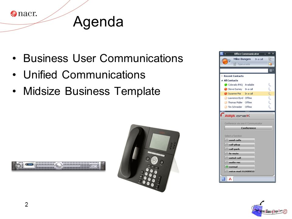 Agenda Business User Communications Unified Communications Midsize Business Template 2