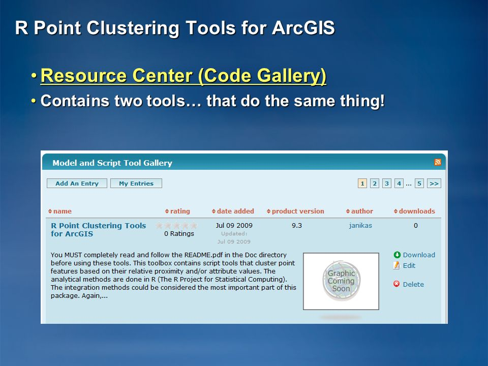 R Point Clustering Tools for ArcGIS Resource Center (Code Gallery)Resource Center (Code Gallery)Resource Center (Code Gallery)Resource Center (Code Ga