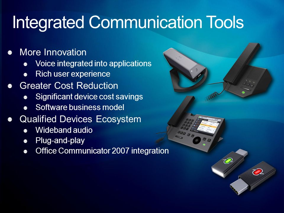Integrated Communication Tools More Innovation Voice integrated into applications Rich user experience Greater Cost Reduction Significant device cost