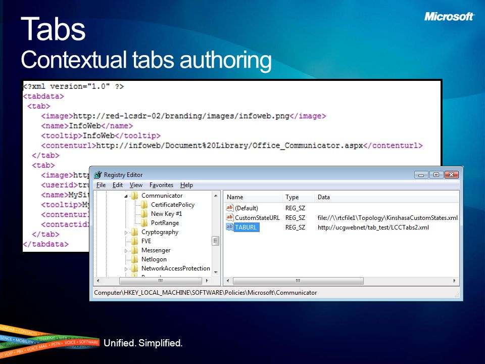 Unified. Simplified. Tabs Contextual tabs authoring