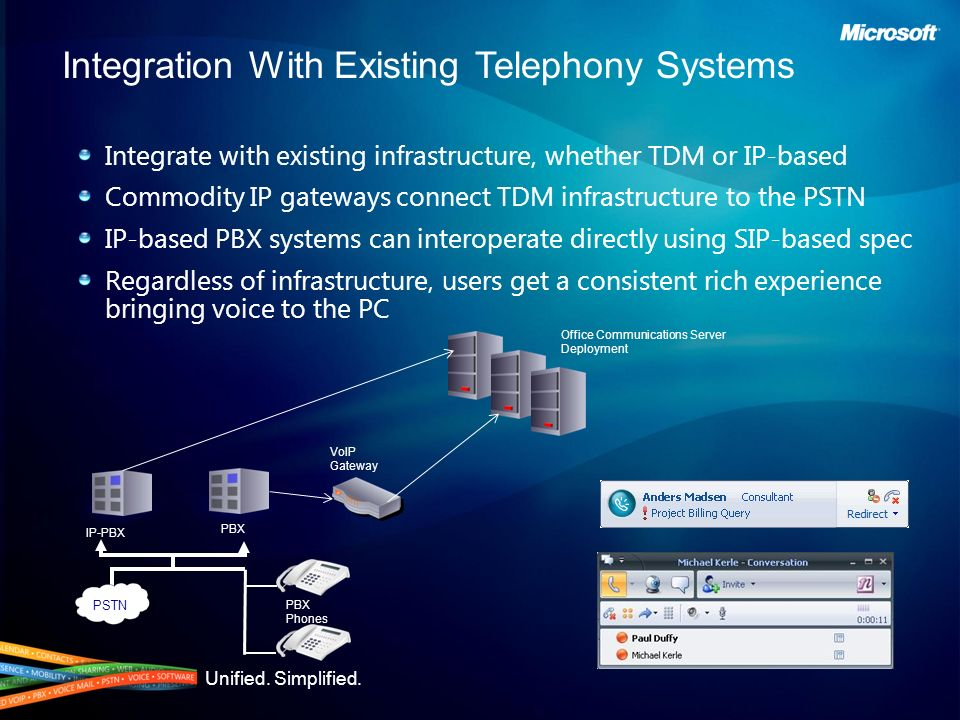 Unified. Simplified. Integrate with existing infrastructure, whether TDM or IP-based Commodity IP gateways connect TDM infrastructure to the PSTN IP-b