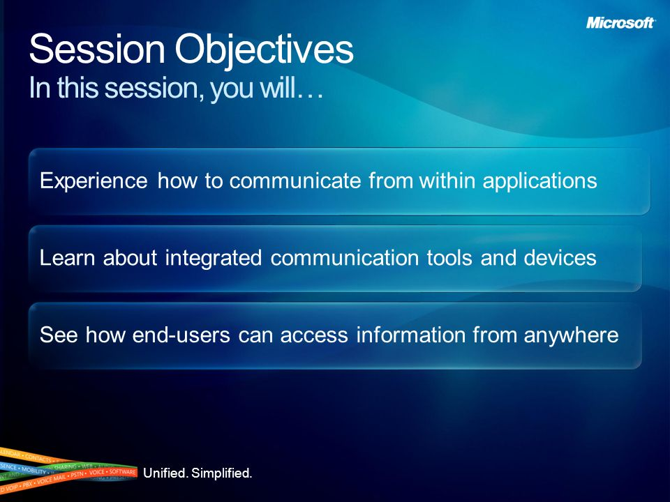Unified. Simplified. Experience how to communicate from within applications Learn about integrated communication tools and devices See how end-users c