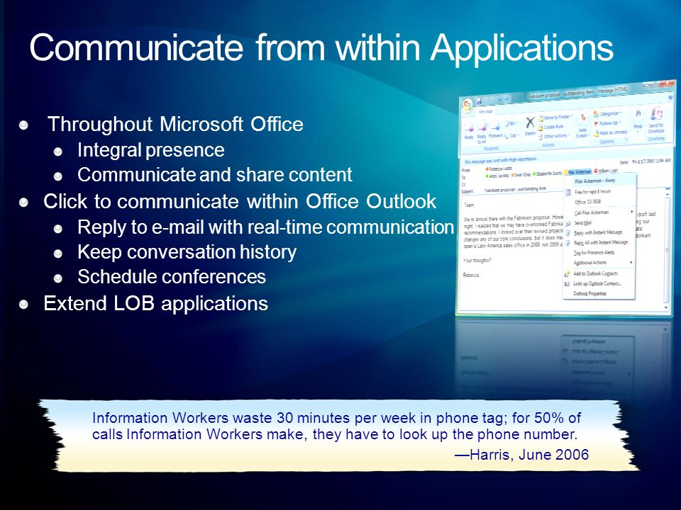 Communicate from within Applications Throughout Microsoft Office Integral presence Communicate and share content Click to communicate within Office Ou