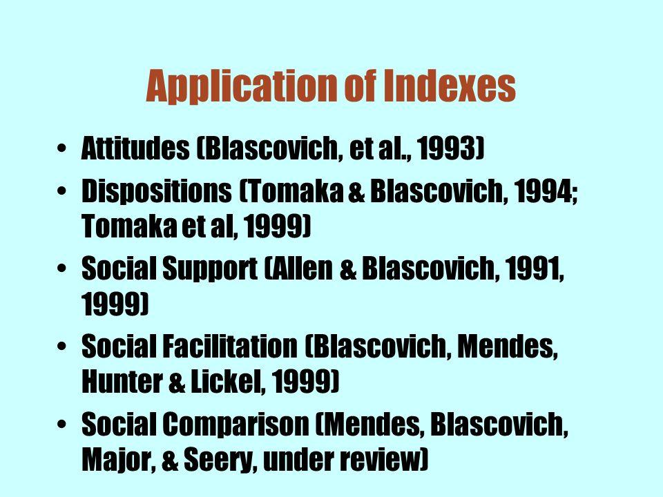Application of Indexes Attitudes (Blascovich, et al., 1993) Dispositions (Tomaka & Blascovich, 1994; Tomaka et al, 1999) Social Support (Allen & Blasc