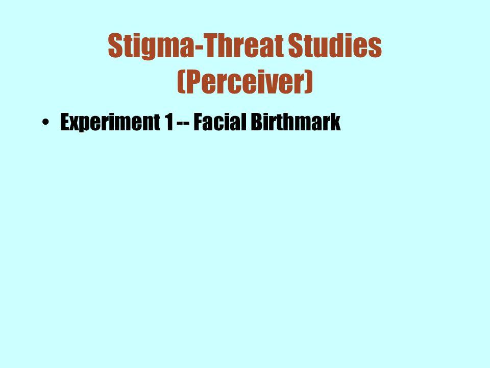 Stigma-Threat Studies (Perceiver) Experiment 1 -- Facial Birthmark
