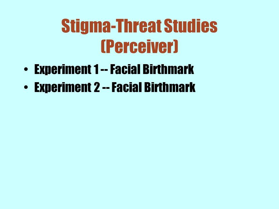 Stigma-Threat Studies (Perceiver) Experiment 1 -- Facial Birthmark Experiment 2 -- Facial Birthmark