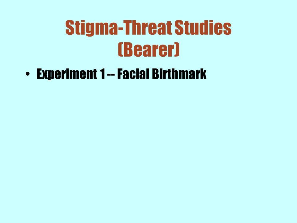 Stigma-Threat Studies (Bearer) Experiment 1 -- Facial Birthmark